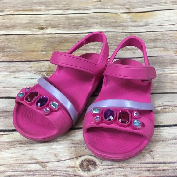 d7a244d7fd8e CROCS Other - Pink Toddler Croc Sandals Embellished Gems 7 Girls